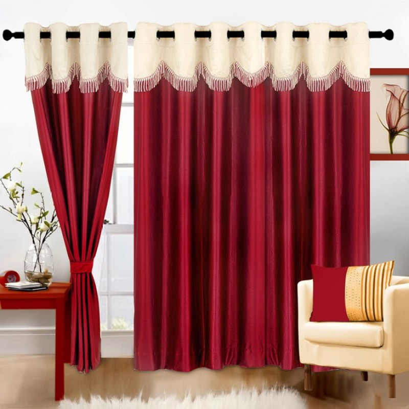 Pag Polyester Maroon Cream Plain Eyelet Window & Door Curtain(210 cm in Height, Pack of 2)