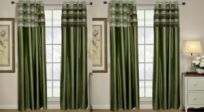 Rangoli Polyester Green Self Design Eyelet Door Curtain