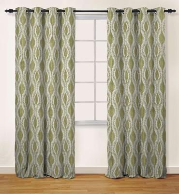 Oro Decor Polyester Olive Green Damask Eyelet Door Curtain