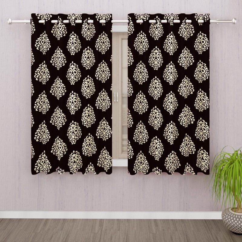 Bedspun Polyester Brown Floral Eyelet Window Curtain(152 cm in Height,...
