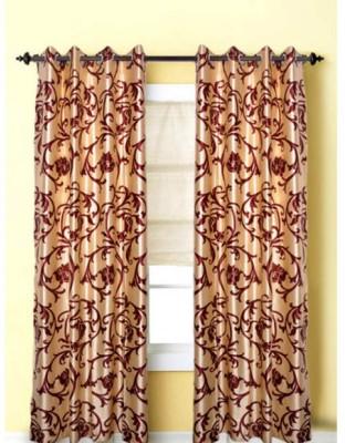 JTInternational Polyester Beige Abstract Eyelet Door Curtain