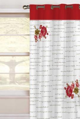 Elan Cotton Red Printed Eyelet Window Curtain