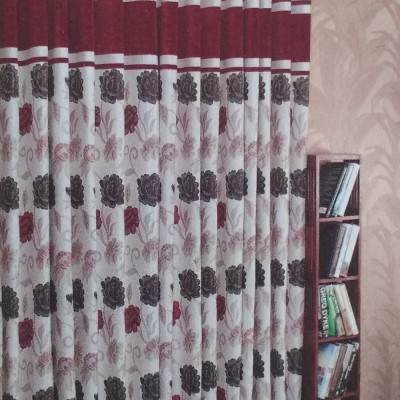 New Fabric Art Jacquard Maroon Floral Eyelet Window Curtain