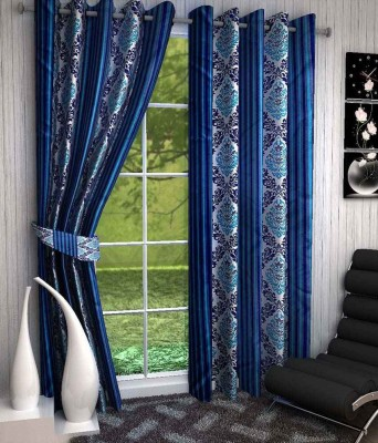 Divine Polyester Blue, Light Blue Printed Eyelet Window Curtain