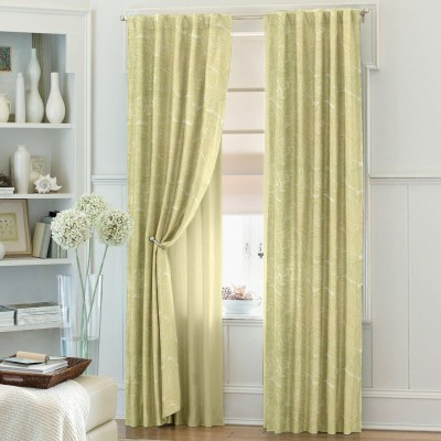 Dreamscape Blends Yellow Floral Eyelet Door Curtain