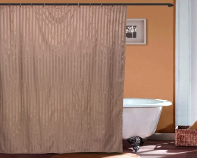 Just Linen Polyester Brown Striped Tab Top Door Curtain