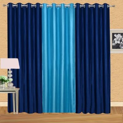 Excel Bazaar Polycotton Neavyblue-1aqua Plain Eyelet Door Curtain