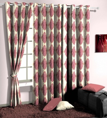 Curtainman Polyester Purple Motif Eyelet Window Curtain
