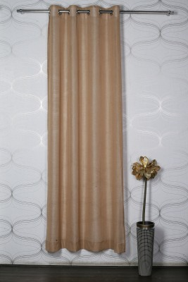 Homelife Polyester Gold Solid Eyelet Window Curtain