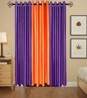 shop24decor Polyester Multicolor Plain Eyelet Door Curtain(213 cm in Height, Pack of 3)