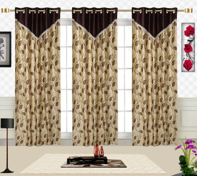 Comfort Zone Polycotton Brown And Golden Leaf Abstract Eyelet Door Curtain