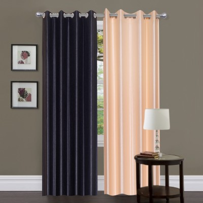Home And Craft Polyester Blue Plain Eyelet Door Curtain