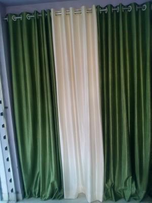 mansuriwala Polyester Green, Cream Plain Eyelet Window & Door Curtain