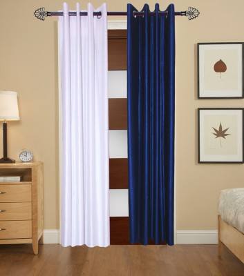 HomeZaara Polyester White, Blue Solid Eyelet Door Curtain