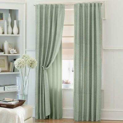 Dreamscape Blends Green Geometric Eyelet Door Curtain