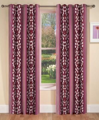 AJ Interior Polyester Purple Printed Eyelet Long Door Curtain