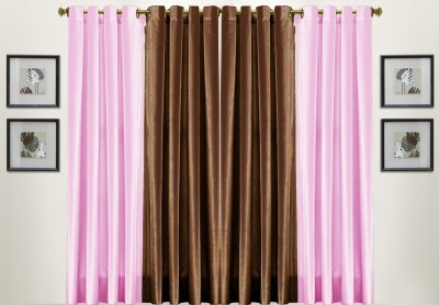 Thiwas Polyester Pink, Brown Solid Eyelet Door Curtain