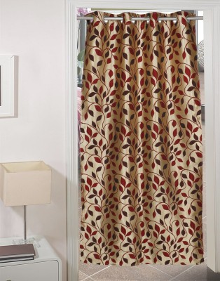 AJ Retails Polyester Alluring Maroon, Chic Gold Floral Eyelet Door Curtain