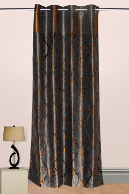 Puma Polyester Brown, Blue Floral Eyelet Door Curtain