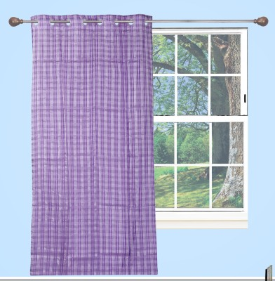 Edit One Polyester Purple Striped Rod pocket Window & Door Curtain