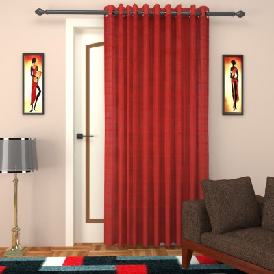 SEVEN STARS Cotton Red Checkered Curtain Door Curtain