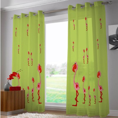 Right Polyester Green, Red Cartoon Eyelet Door Curtain
