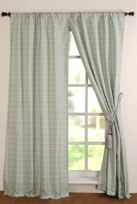 Deco Window Polyester Green Motif Eyelet Window Curtain