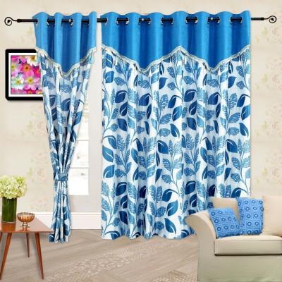 Cortina Polyester Blue Self Design Eyelet Door Curtain
