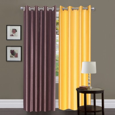 Brand Decor Polyester Brown, Yellow Solid Eyelet Door Curtain