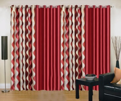 New Trends Polyester Maroon Printed Eyelet Long Door Curtain