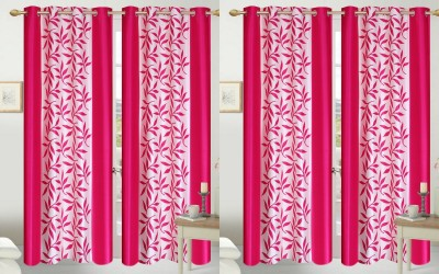 Shopgalore Polyester Pink Floral Eyelet Door Curtain