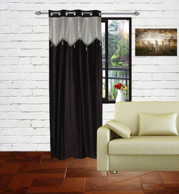 Gaurav Curtains Polyester Brown Floral Eyelet Long Door Curtain