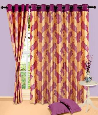 Maa Sharda Exports Polyester Wine Floral Eyelet Window Curtain