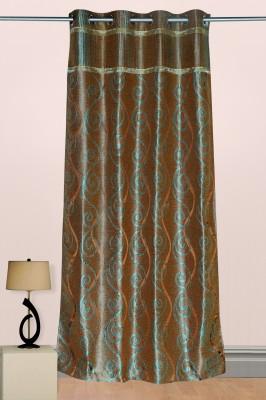 Puma Polyester Brown, Green Printed Eyelet Door Curtain