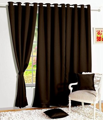 shivamconcepts Polyester Brown Plain Eyelet Door Curtain