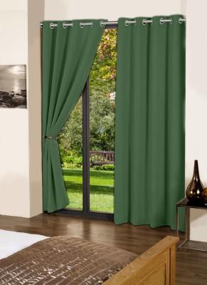 Lushomes Cotton Vineyard Green Plain Eyelet Door Curtain