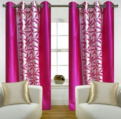 Z Decor Polyester Pink Heart Printed Eyelet Door Curtain