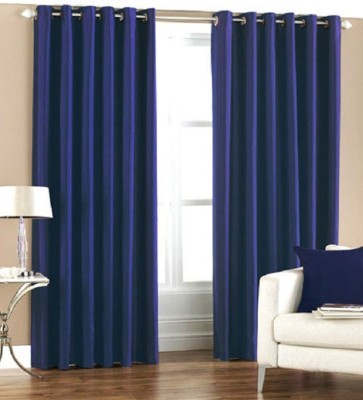 MSJ Polyester Blue Solid Eyelet Door Curtain