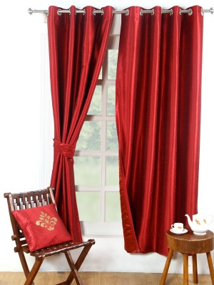 Avocett Polycotton Maroon, Red Plain Eyelet Door Curtain