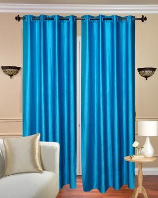 Shiv Shankar Handloom Polyester Blue Plain Eyelet Door Curtain