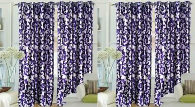 Hargunz Polyester DarkBlue Abstract Eyelet Door Curtain
