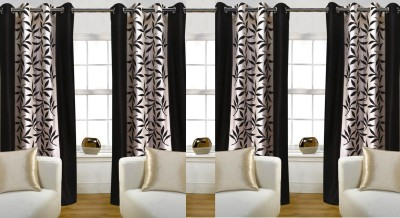 Thiwas Polyester Coffee Printed Eyelet Door Curtain