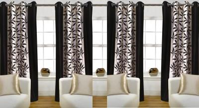 Pendu Art Polyester Brown Printed Printed Eyelet Window Curtain
