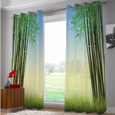 Right Polyester Green, Blue, Yellow Abstract Eyelet Door Curtain