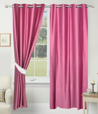 SLV Home Decor Polyester Pink Plain Eyelet Window Curtain