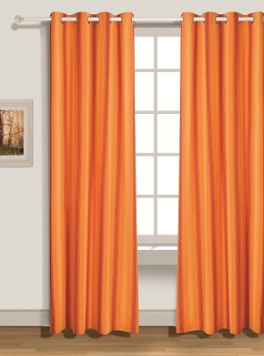 House This Cotton Orange Solid Eyelet Door Curtain