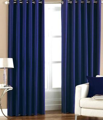 Fogg Polyester Dark Blue Solid Eyelet Door Curtain