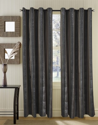 Home Boutique Polyester Brown, Grey Striped Eyelet Long Door Curtain