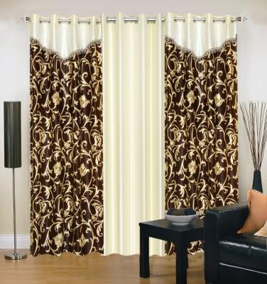 Excel Bazaar Polyester Brown, Beige Abstract Eyelet Door Curtain