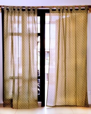Ocean Homestore Cotton Brown Printed Eyelet Window Curtain